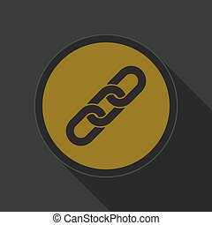 yellow round button with black hanging chain icon