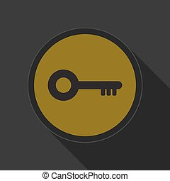 yellow round button with black key icon