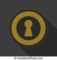 yellow round button with black keyhole icon