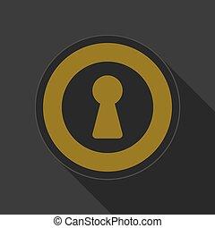 yellow round button with black keyhole icon