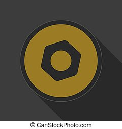 yellow round button with black nut icon