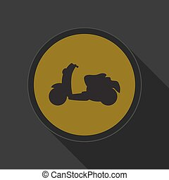 yellow round button with black scooter icon