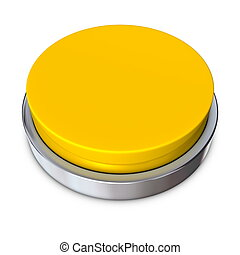 Yellow Round Button with Metallic Ring