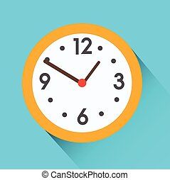 Yellow round clock on blue background. Flat vector icon with long shadow