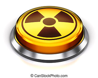 Yellow round nuke button with nuclear radiation symbol -...