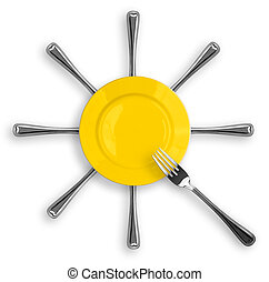 Yellow round plate with eight forks in a form of sun