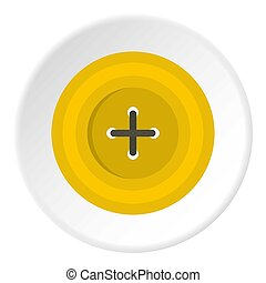 Yellow round sewing button icon circle