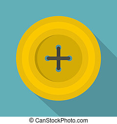 Yellow round sewing button icon, flat style