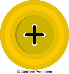 Yellow round sewing button icon isolated