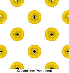 Yellow round sewing button pattern flat