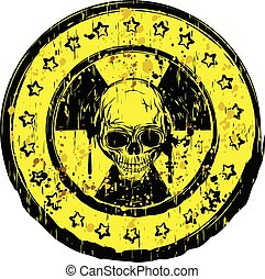 yellow round skull radiation