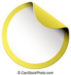 Yellow round sticker on white