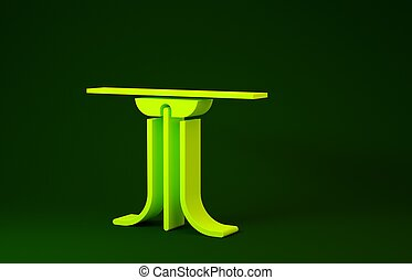 Yellow Round table icon isolated on green background. Minimalism concept. 3d illustration 3D render