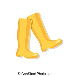 Yellow rubber boots, vector illustration
