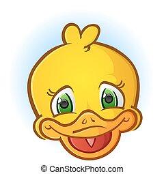 Yellow Rubber Duck Face Cartoon