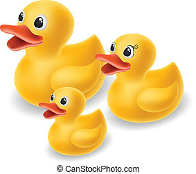 Yellow Rubber duck family isolated on white