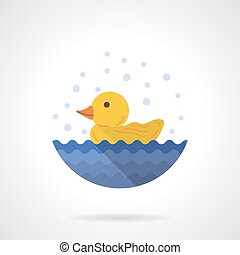 Yellow rubber duck flat color vector icon