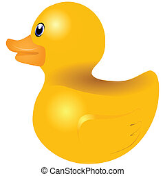 Yellow rubber duck for the bath. Vector illustration.