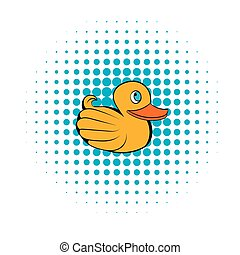 Yellow rubber duck icon, comics style