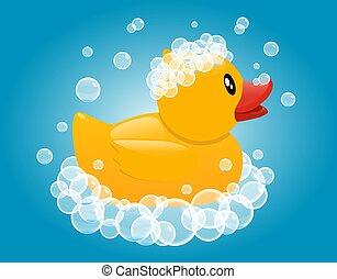 Yellow rubber duck in soap foam. Baby bathing toy. Vector cartoon illustration
