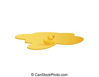 Yellow rubber duck swimming in a orange juice puddle - ...