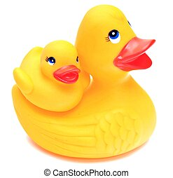 Yellow rubber ducks - Group of yellow rubber ducks next to...