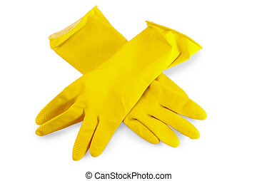 yellow rubber gloves for washing dishes on a white...