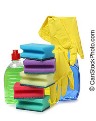 Yellow rubber gloves - Protective rubber gloves and cleaning...