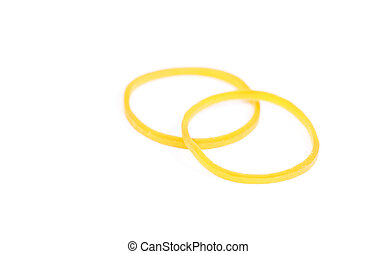 Yellow rubber ring isolated on white background