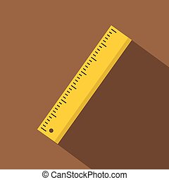 Yellow ruler icon. Flat illustration of yellow ruler vector icon for web isolated on coffee background