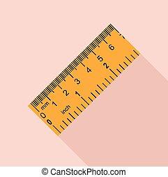 Yellow ruler, rectangular shape icon, flat style