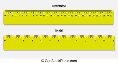 rulers, marked in centimeters and inches