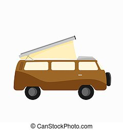 Yellow rv camp van with Tent on the roof. Nomad lifestyle. Responsible sustainable local travel. Motorhome acessories