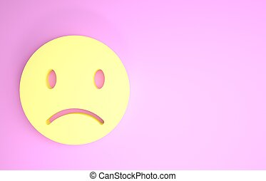 Yellow Sad smile icon isolated on pink background. Emoticon face. Minimalism concept. 3d illustration 3D render