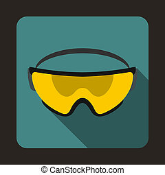 Yellow safety glasses icon, flat style