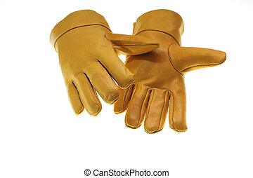 Safety Glove - Yellow Safety Glove Isolated On White