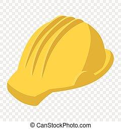 Yellow safety helmet cartoon illustration. Single symbol on ...