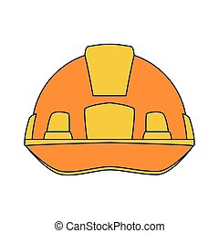 yellow safety helmet icon over white background, vector ...