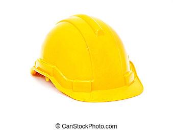 Yellow safety helmet on white background.