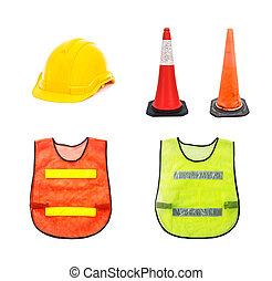 Yellow safety helmet , Traffic cone - barricade warning cones ,