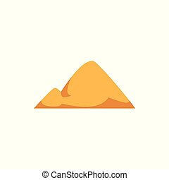 Yellow sand pile with double hill shape isolated on white background