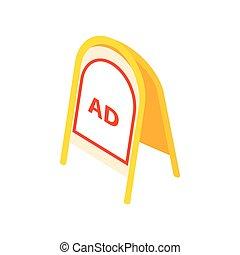 Yellow sandwich board icon, isometric 3d style