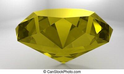 Yellow sapphire gemstone gem stone spinning wedding...