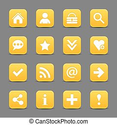 Yellow satin icon web button with white basic sign