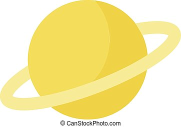 Yellow saturn, illustration, vector on white background.