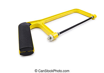 Yellow saw isolated on the white background