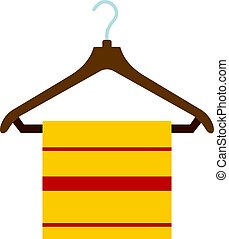 Yellow scarf on wooden coat hanger icon isolated