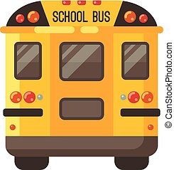 Yellow school bus back view flat illustration on white background