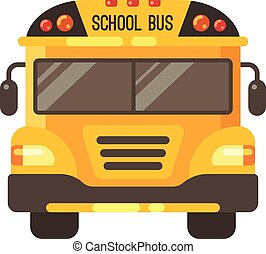 Yellow school bus front view flat illustration on white background