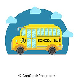 Yellow school bus isolated on white background. Vector flat illustration.